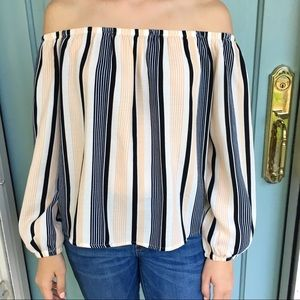 Lucca Off the Shoulder Cream and Navy Striped Top